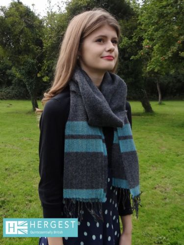 Charcoal Grey & Blue Pure Wool Scarf
